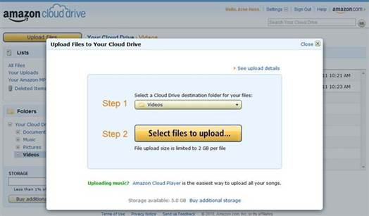 Cloud Drive's interface couldn't be simpler