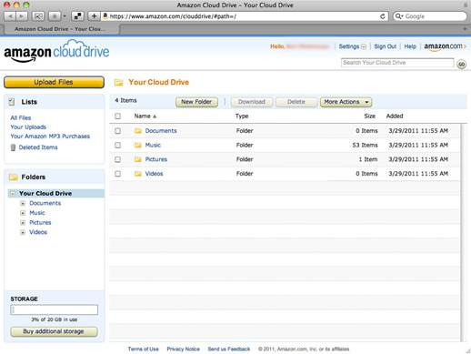 The web-based interface shows you what you have stored in your account