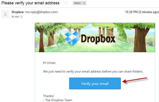Once your recipient has verified their email address, they will be able to access Dropbox folders you share with them