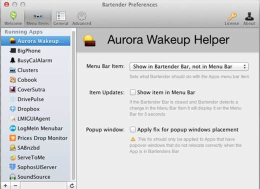 Bartender is an icon that sits in your Dock and stores as many extra menu bar icons as you like.