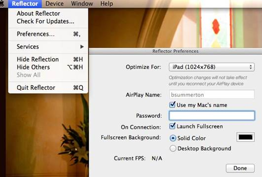 This simple app enables you to show your iOS device's screen on your Mac using AirPlay.