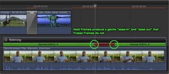 Freeze frames are just like any other clip in your project.