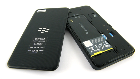 BlackBerry Z10 with battery cover removed
