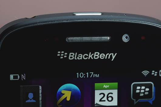 Located above the screen, and above the BlackBerry brand is the earpiece, 2MP front-facing camera and a notification LED