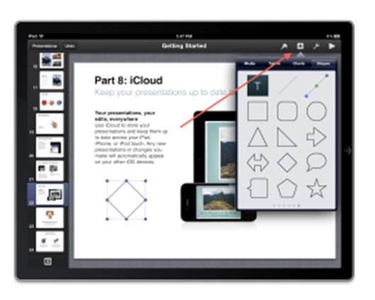 Keynote in iOS encourages a more visual approach to presentations.