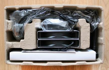 Cardboard tray with many compartments for each component of the system