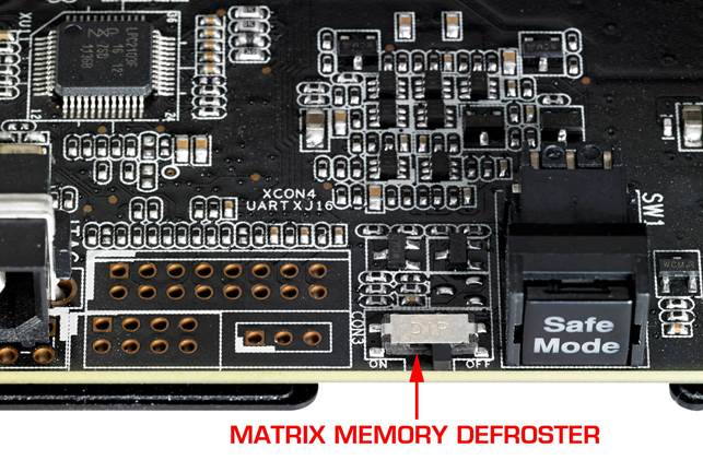 The safe Mode switch, Molex connector, Memory defroster and voltage read points are found at the end of the PCB