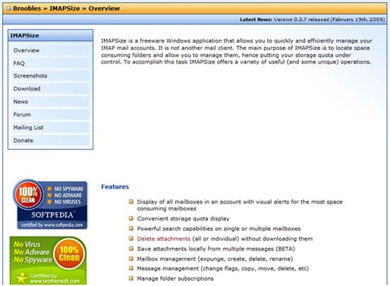 To get started, launch a web browser and visit www.broobles.com/imapsize. When the page appears, click the Download link to the left-hand side of the page and click the Installer link