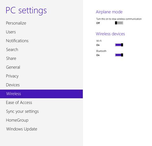 PC settings Wi-Fi and Bluetooth Windows 8