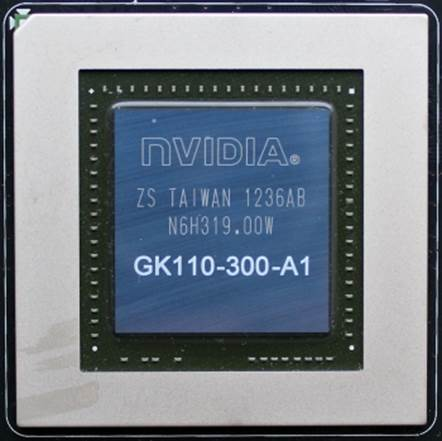 The GPU die is 561 sq. mm large and marked as GK110-300-A1