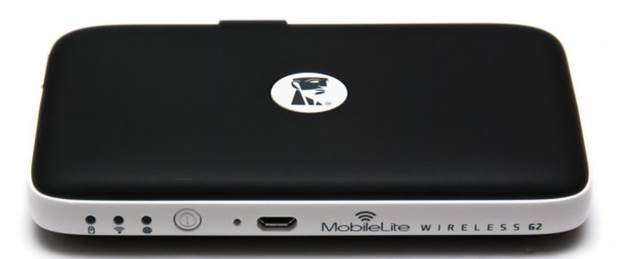 At the front of the MLWG2 are three status LEDs (charging, Wi-Fi, power-on), the power button, the microUSB port, and its branding (which is actually quite attractive). Kingston's Redhead logo is found front and center on the top (albeit in a more suitable white color).