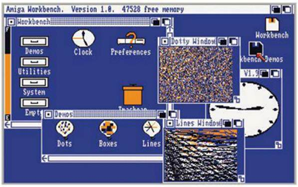 Description: A The Amiga Workbench 1.0, with eye-catching (eye-watering) colour schemes