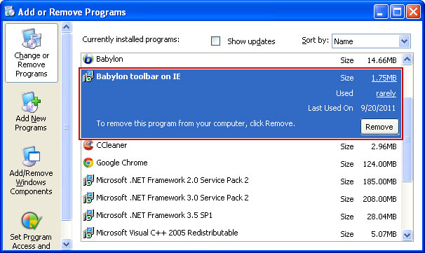 Description: To Remove Babylon Toolbar on IE: 'Control Panel' > 'Programs and Features and removing both 'Babylon Toolbar on IE' and 'Babylon Objectlnstaller'.