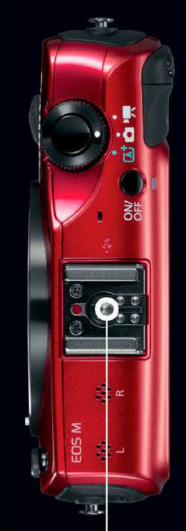 Description: The EOS M comes with a hot shoe mount so that an external flash unit can be mounted, instead of opting for a weaker built-in flash