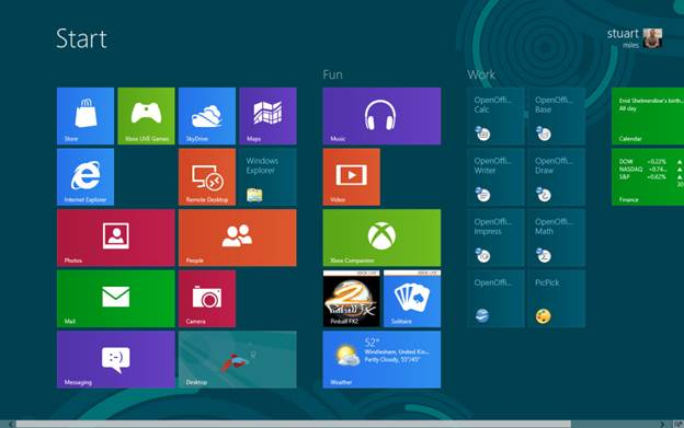 Description: All applications show up as tiles on the Windows 8 Start screen