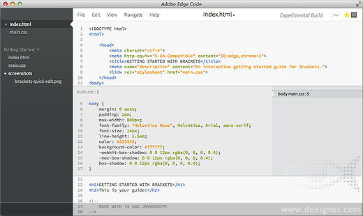 Description: Edge Code is an environment for hand-coding HTML, CSS and JavaScript