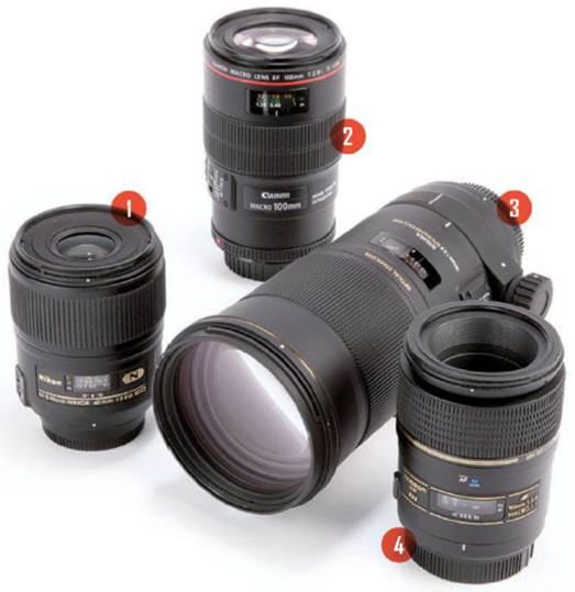 1 – The Nikon AF-S Micro-Nikkor 60mm f/2.8G ED standard macro lens2 – The Canon EF 100mm f/2.8 USM L IS short telephoto macro lens3 – The Sigma APO Macro 180mm f/2.8 EX DG OS HSM long telephoto macro lens4 – The Tamron AF 90mm f/2.8 SP Di short telephoto macro lens