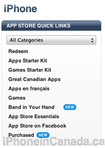App Store Quick Links