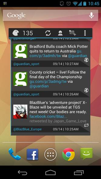 Falcon Beta widget Twitter control