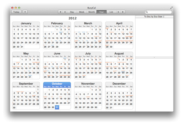 Like Calendar, BusyCal lists calendars in a pane on the left, but for those with particu¬larly packed agendas, it offers event filtering