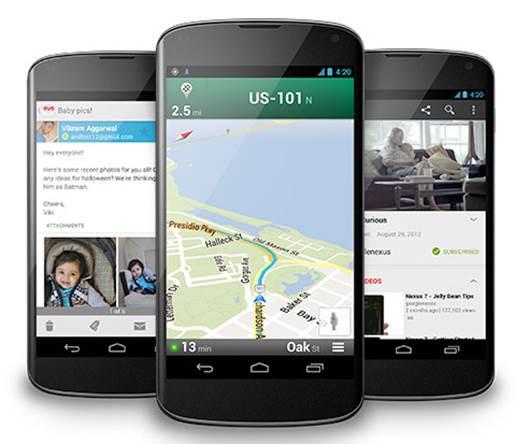 The Nexus 4 runs Android 4.2 Jelly Bean.