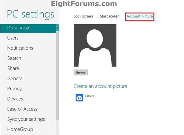 Description:   Change Account Picture in window 8
