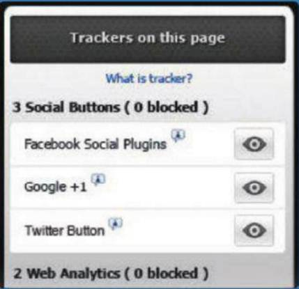 Description: Trackers on this page
